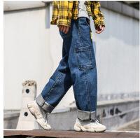 【秋冬新款】男士日系坠感直筒男九分牛仔裤潮牌加肥加大码裤子 2X