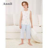 【2件4折价:79.6】安奈儿童装男童背心两件装2021新款时髦男孩马甲夏季薄款透气上衣