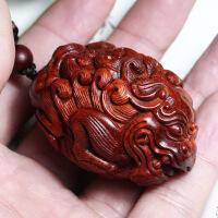 【招财貔貅】正宗印度小叶紫檀手把件吊坠 雕刻挂件中秋节礼物品 貔貅挂件