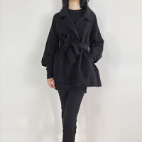 新年特惠毛呢外套18新款系带显瘦双面大衣短款女字修身保暖女式风衣