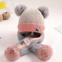 宝宝帽子冬季婴儿毛线帽1一2岁女童0-冬天保暖围巾二件套男童 均码