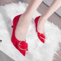 细跟高跟鞋女尖头2018新款低跟3cm蝴蝶结水钻红色结婚鞋单鞋工作