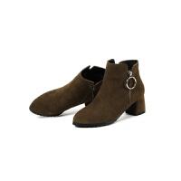 小码短靴31 真皮女马丁靴女大码女鞋-真皮粗跟牛翻皮