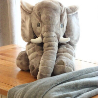 毛毯卡通可爱大象抱枕被子两用多功能靠枕靠垫折叠午睡毯子空调被定制