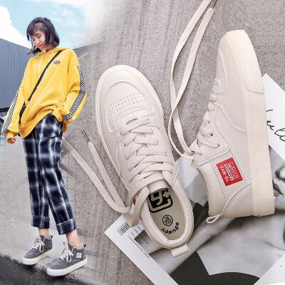 超火帆布鞋女鞋2018新款百搭板鞋韩版学生原宿小白鞋女