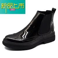 新品上市冬季高帮皮鞋男士马丁靴男加绒英伦漆皮靴靴男短靴子
