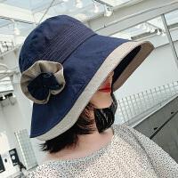 遮阳帽子女夏韩版潮大沿花朵百搭可折叠渔夫帽防晒沙滩度假太阳帽