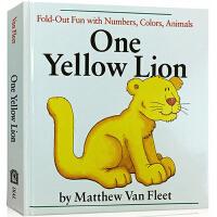 英文原版 One Yellow Lion 纸板翻翻书 认知颜色 数字 动物 张湘君推荐 儿童启蒙学习