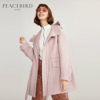 太平鸟女装春装新款宽松粉色直筒连帽大翻领呢大衣中长款毛呢外套