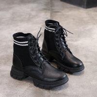 马丁靴女英伦厚底短筒加绒高帮袜子靴潮2018新款韩版针织拼接短靴