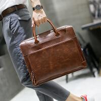 真皮新款男士手提包时尚潮流公文包疯马皮男包商务简约斜挎包潮流 咖啡色