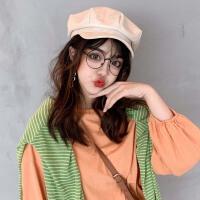 海军帽贝雷帽女夏季薄款英伦复古秋冬韩版日系网红款鸭舌八角帽子