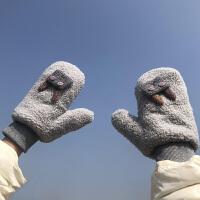 手套女冬天可爱防风加绒加厚保暖骑车韩版学生连指ins日系羊羔绒