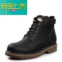 新品上市冬季男鞋英伦马丁靴子工装鞋男士休闲大头皮鞋高帮靴加绒保暖潮鞋