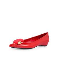 卡迪娜 女鞋欧美蝴蝶结尖头浅口方跟平底单鞋 KS60823