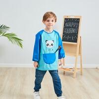 儿童画画衣男防水围裙女宝宝幼儿园吃饭衣反穿衣中小大童绘画罩衣