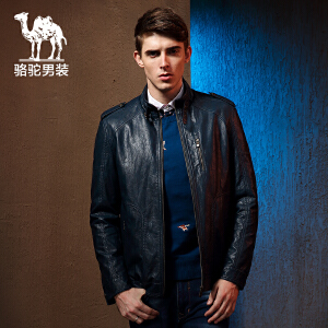 男装骆驼 新款修身肩章长袖外套 纯色拉链门禁休闲皮衣男
