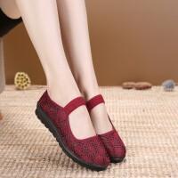 老北京布鞋女网鞋夏季透气老太太鞋平底奶奶鞋中老年人妈妈鞋 红色 35
