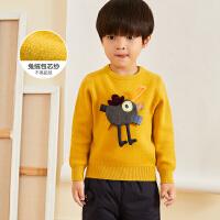 【3件7折价:174.3元】马拉丁童装男女小童毛衣冬装新款兔绒包芯纱可爱图案圆领毛衣
