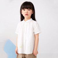【5折券预估价:199.5元】马拉丁童装女童衬衫2020夏装新款可爱娃娃领抽褶设计短袖衬衫