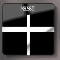 升级款十字黑USB充电电子称体重秤家用人体秤迷你精准减肥称重计测体重器 升级款十字黑