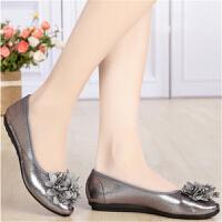 新款老北京布鞋花朵浅口休闲舒适女鞋轻便软底平跟工作鞋女