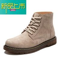 新品上市马丁靴男英伦风高帮鞋冬季加绒男士靴子男鞋潮原宿沙色短靴男