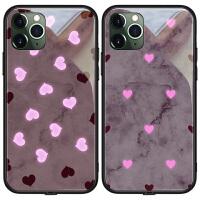 苹果x手机壳iphone11玻璃XSMAX女款发光XR夜光11promax来电闪xmax网红同款iphonex紫色爱心
