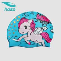 hosa浩沙新款儿童泳帽宝宝 中大童可爱卡通防晒泳帽 游泳装备