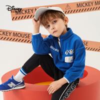 【2件5折后价:73元】迪士尼童装2020春装新款男童帅气立领摇粒绒上衣宝宝儿童套头卫衣