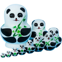 俄罗斯抖音特产10层熊猫套娃彩绘娃娃创意生日儿童卡通玩具礼物