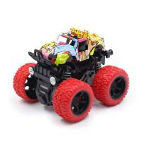 【吸塑精装】卡通涂鸦款4驱动360度旋转惯性回力车大脚越野车模玩具模型车儿童男孩