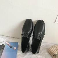 现货2019冬季新款复古小皮鞋女式英伦风粗跟浅口方头休闲两穿单鞋