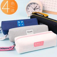 简约笔袋时尚小清新可爱帆布手提式铅笔盒办公初中小学生文具用品收纳袋