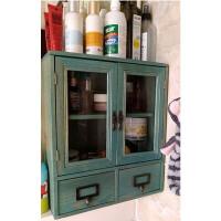 杂货桌面收纳柜 抽屉玻璃门小木柜药箱防尘化妆品香水收纳盒