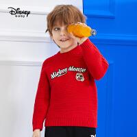 【2件5折后价:101元】迪士尼童装儿童秋冬新款针织衫宝宝套头衫上衣男童圆领加厚毛衣