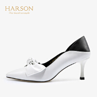 【 限时4折】哈森2019春新款通勤浅口尖头单鞋女羊皮革拼色高跟鞋HS97136