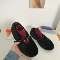 网红毛毛鞋女冬外穿2018新款韩版铆钉一字带加绒豆豆鞋懒人棉瓢鞋