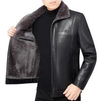 男士皮衣加厚加绒短款翻领中年皮夹克男装2019新款冬季外套爸爸装