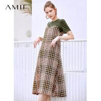 【券后预估价:162元】Amii极简轻复古甜美a字连衣裙女夏季新款假两件拼接格子雪纺长裙