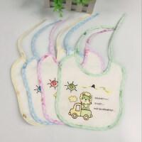 婴儿绑带口水巾防水系带新生围嘴全棉宝宝吃饭围兜5条装
