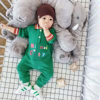婴儿连体衣长袖男女宝宝翻领哈衣婴幼儿爬服新生儿衣服春秋款