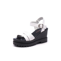 红蜻蜓女鞋韩版夏季优雅简约坡跟女凉鞋休闲舒适凉鞋子防水台凉鞋女