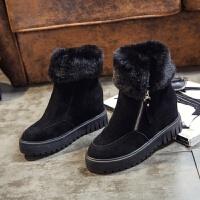 冬季雪地靴女2018新款厚底内增高网红短靴子韩版百搭短筒加绒棉鞋