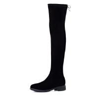 【秋冬新款 限时1折起】哈森 冬季弹力布靴 圆头系带高筒靴低方跟过膝长靴女HA66403