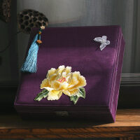 古典中式礼物文艺刺绣大首饰盒带锁化妆盒收纳盒礼盒