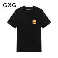 【21-22一件到手价:129】GXG男装 夏季男士时尚个性字母印花简约休闲黑色短袖针织T恤男