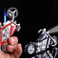 个性创意造型 充气防风打火机 复古哈雷摩托车模型道具带灯