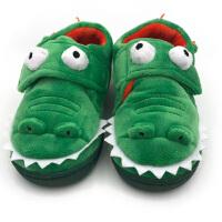 出口原单儿童棉拖鞋防滑保暖卡通动物鳄鱼宝宝居家用室内地板鞋 绿色 鳄鱼