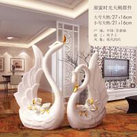 创意家居软装酒柜摆设结婚礼物客厅装饰柜摆件陶瓷摆设描金天鹅